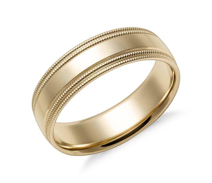 Platinum Double Milgrain 6mm Wide Flat Wedding Band Ring: Double Milgrain Comfort Fit Wedding Ring In 14k Yellow