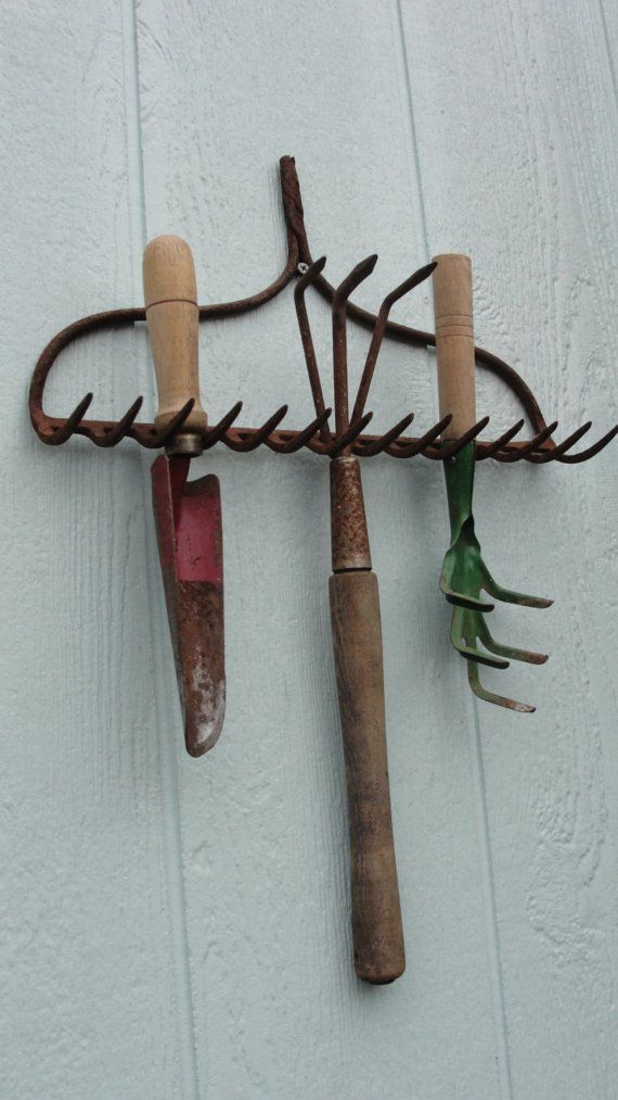 "Vintage Rustic Garden Hand Tools Organizer by bluebonnetfields, $38.00 OR Free from your grandparents ""junk"" pile"