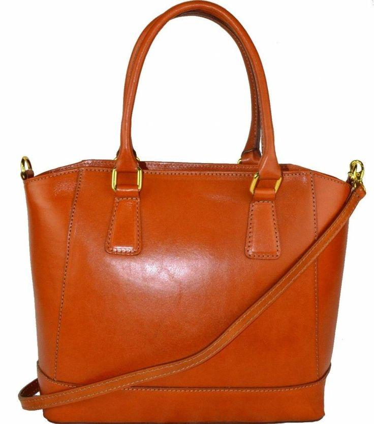 Handtas van kalfsleer met verstelbare schouderband cognac kleur