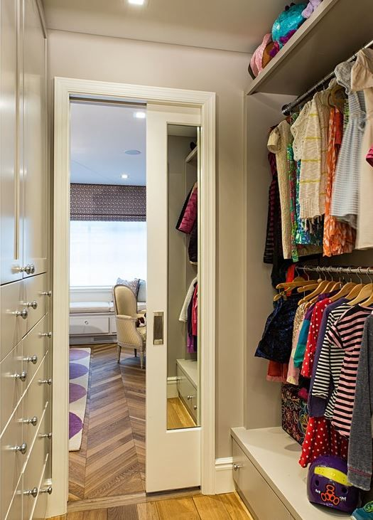 mirrored pocket door for closet