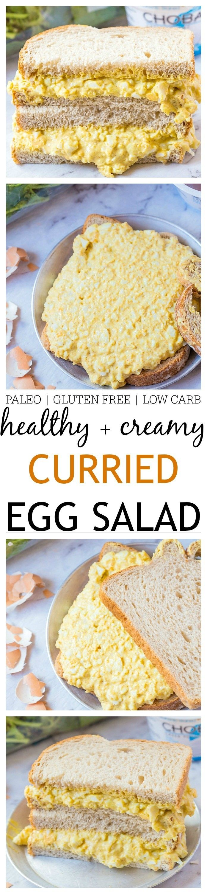 Healthy Creamy Curried Egg Salad- Creamy, easy and ready in no time, this curried egg salad is lightened up and much healthier than classic egg salads! Made with two options, including a paleo friendly one, the original gluten free version uses Greek Yogurt instead of mayonnaise!  @thebigmansworld -thebigmansworld.com