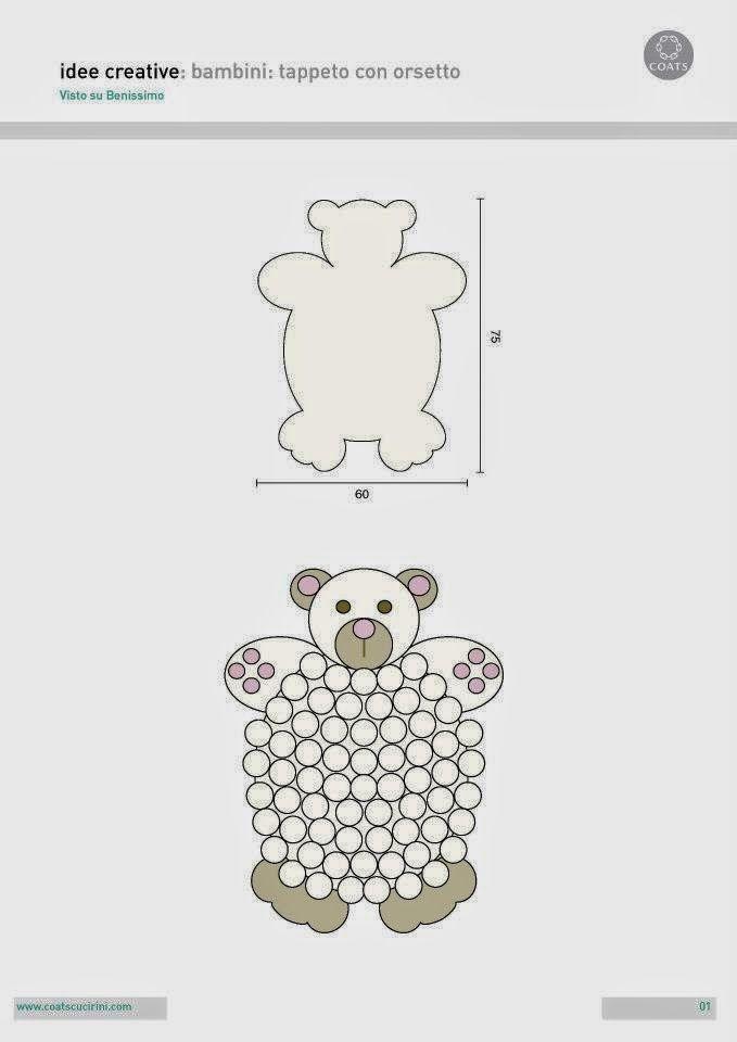 Un orsetto per tappeto, con pon pon e uncinetto