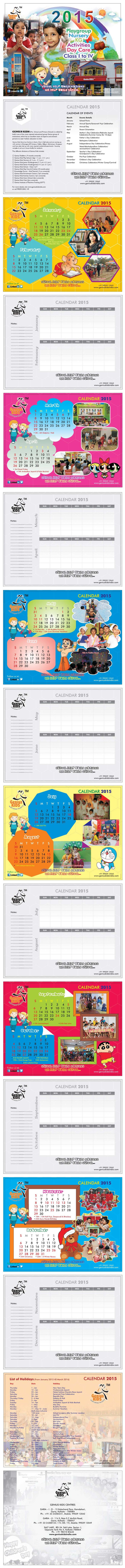 Genius Kids Calendar 2015