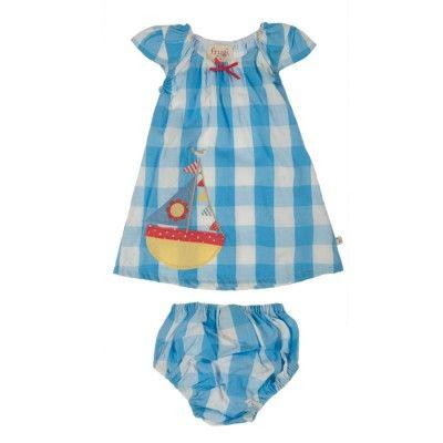 Frugi Βρεφικό Αμάνικο Φορεματάκι με Φουφούλα – Καρό Μπλε - Sunnyside