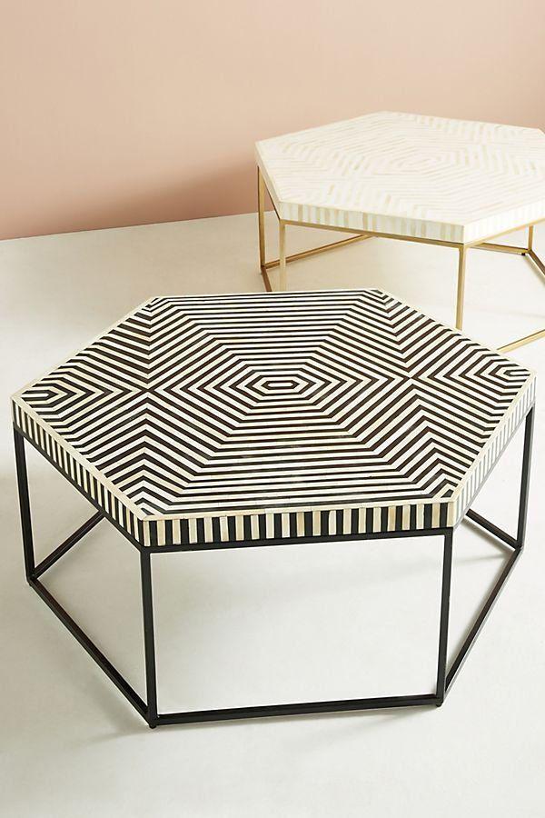 Hex Monochrome Bone Inlay Coffee Table Com Imagens Hexagonal
