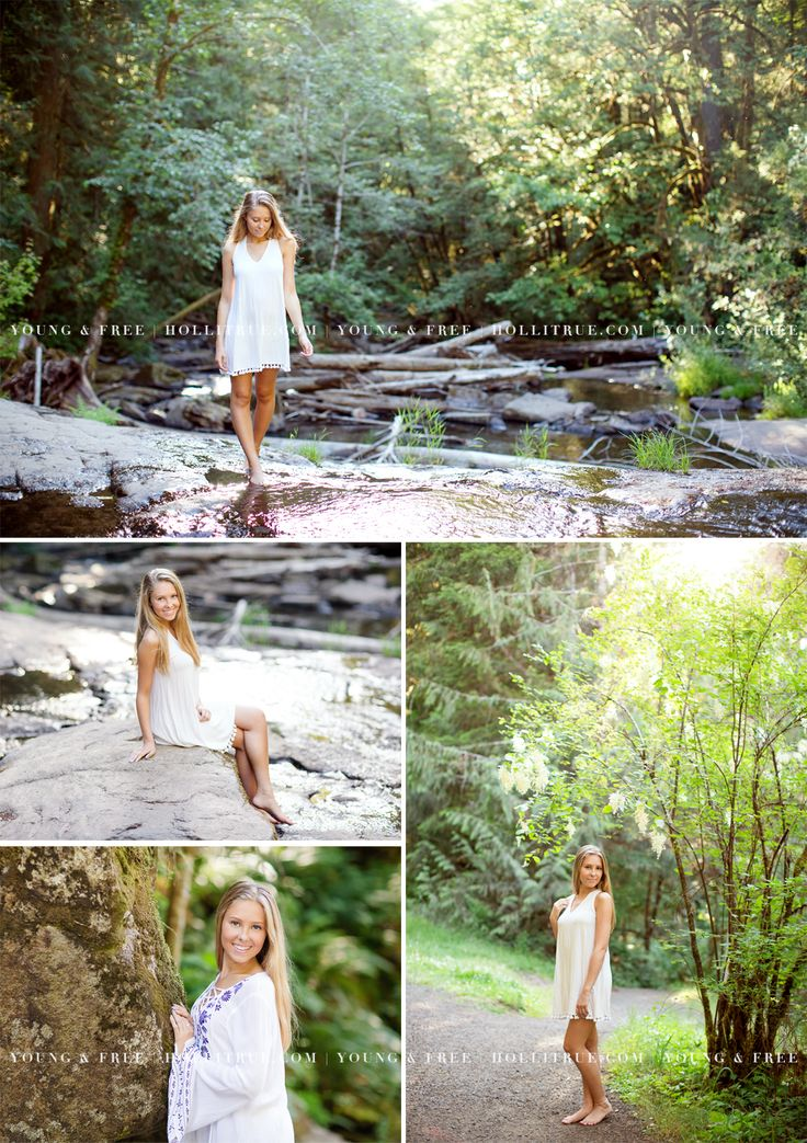 Beautiful Waterfall Senior Pictures in Eugene, Oregon with Kansas high school senior, photographed by senior photographer, Holli True