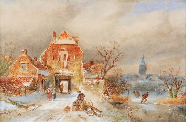 'Charles' Henri Joseph Leickert (1816-1907) A town in winter with skaters, watercolour on paper. Collection Simonis & Buunk, The Netherlands