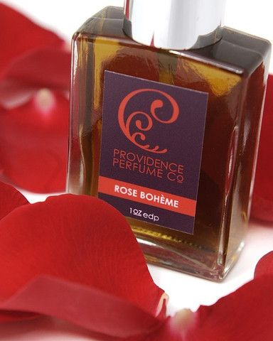 Rose Boheme eau de parfum from Providence Perfume Co. From the website: a decidedly bohemian rose scent created with rich aged patchouli, fir, red tea, rare white rose essence, agarwood, saffron, turkish rose and artisan rose petal infusion. I love rose scents!