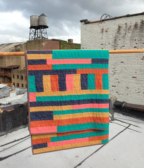 Hattie Butner throw quilt improv modern quilt by mastgeneral