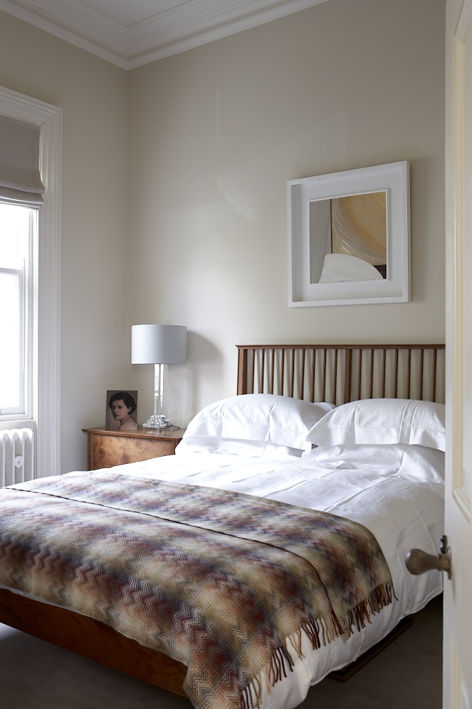 Guest Bedroom - DMVF were approached by the owners of this detached late Victorian house in order to undertake a full restoration and extension of their home. Restoration works included new timber framed sash windows throughout, refurbishment of plaster finishes and cornicing, new heating, wiring and plumbing throughout. New decorative finishes throughout the interior were provided and extensive upragding to the landscaping of the gardens. www.dmvf.ie. Photo by MarkScott.