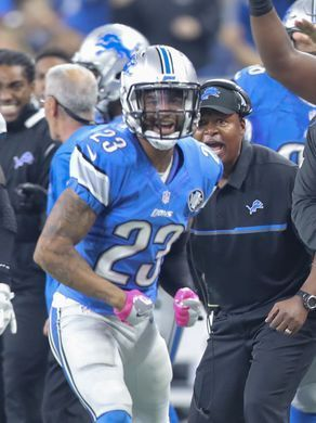 Rams vs. Lions:     October 16, 2016  -  31-28, Lions  -    Lions cornerback Darius Slay and head coach Jim Caldwell react to a stop during the second half against the Los Angeles Rams on Sunday, Oct. 16, 2016 at Ford Field in Detroit.  Kirthmon F. Dozier, DFP