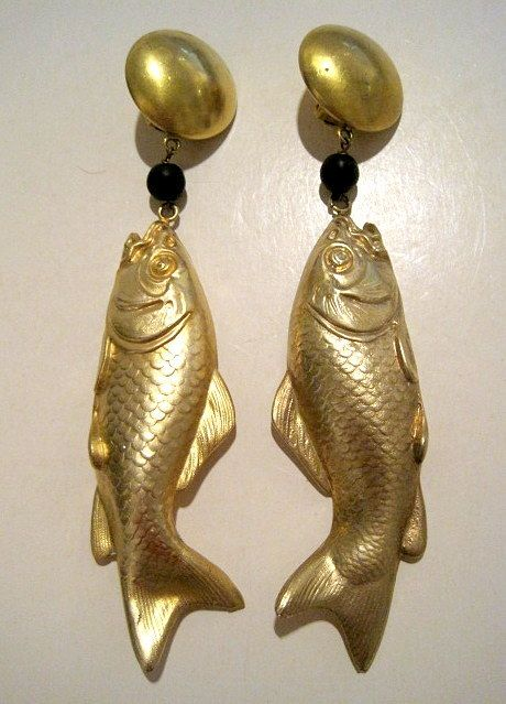 Donatella Pellini - made in Italy - incredibly huge, lightweight clip on fish earrings. SOLD!