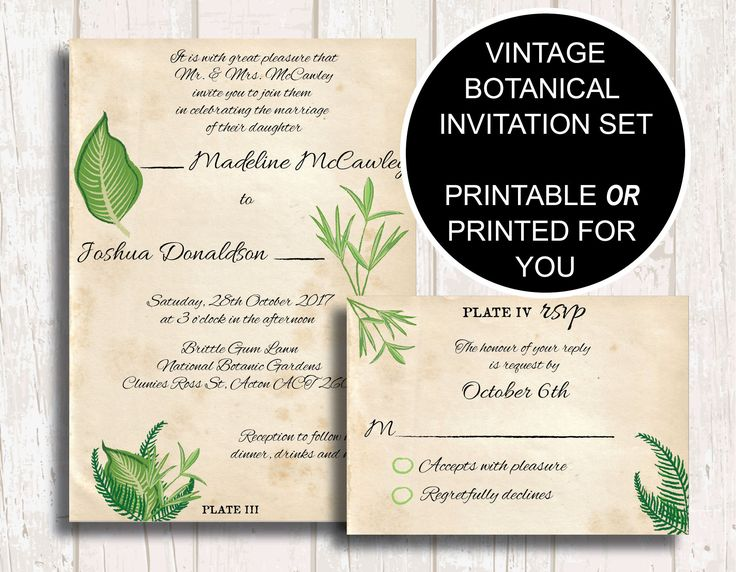 Botanical Wedding Invitation and Sets, Greenery Wedding Invitation, Botanical Invite, Greenery Engagement Invite, Greenery Save Date by PaperColada on Etsy