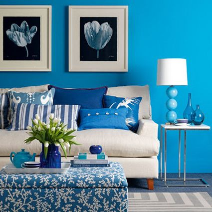 living azul, blanco y negro: Blue Rooms, Decor Ideas, Blue Wall, Blue Living Rooms, Colors, Livingroom, Wall Color, Paintings Color, Design
