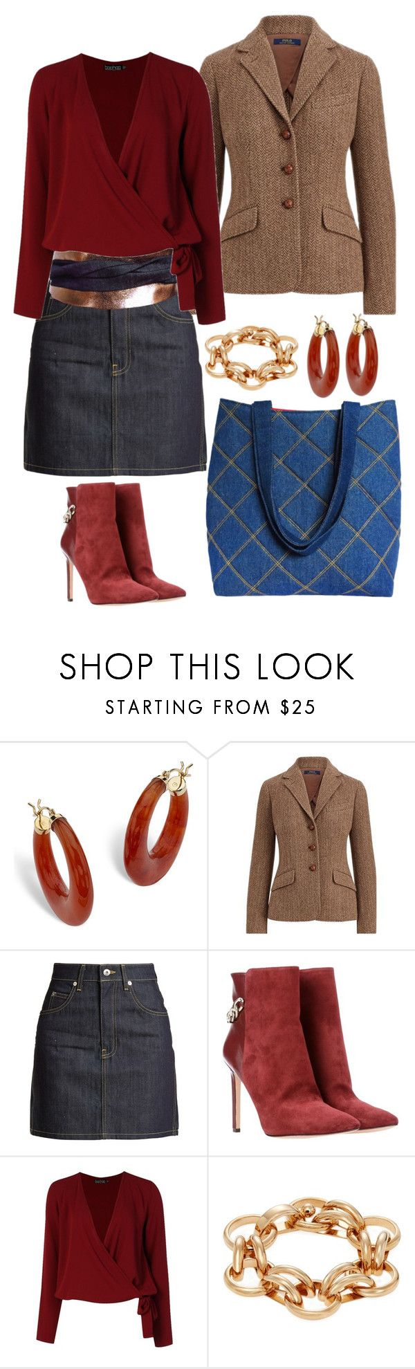 """dressed up denim mini skirt"" by hollandcox ❤ liked on Polyvore featuring Palm Beach Jewelry, Polo Ralph Lauren, Eve Denim, Nine West, Boohoo, Vita Fede, WorkWear and metallic"