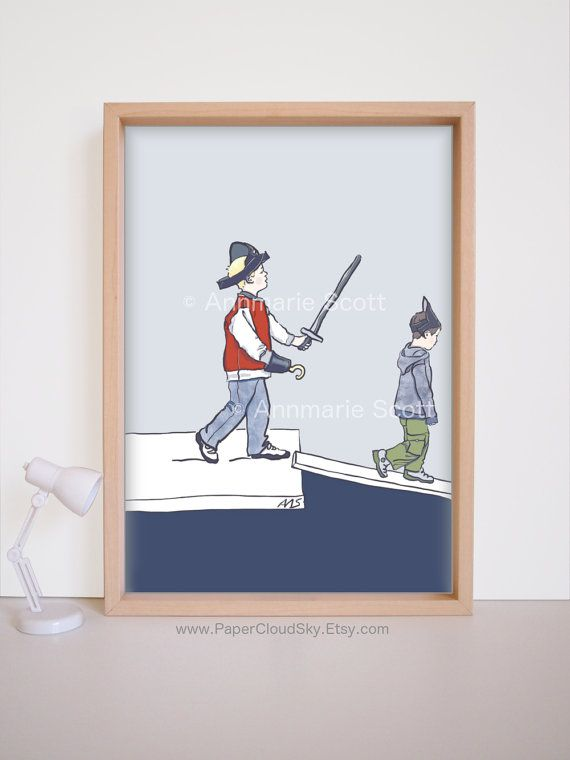 This is a Made to Order listing - please allow 5 - 7 business days for the printing of this item before it ships. Pirate theme boys room decor in dark blue and grey with a splash of tomato red - wall art for 3-7 year olds.  Inspired by playground pirate games, this illustration was digitally hand drawn and painted by me on screen, with stylus and paint software.  *Grey background, illustrated frame and prop (in photo 1) are for display only - they will not appear on your print.  This listing…