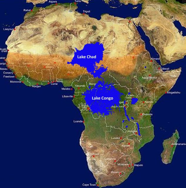 the ancient inland seas/giant lakes of Africa