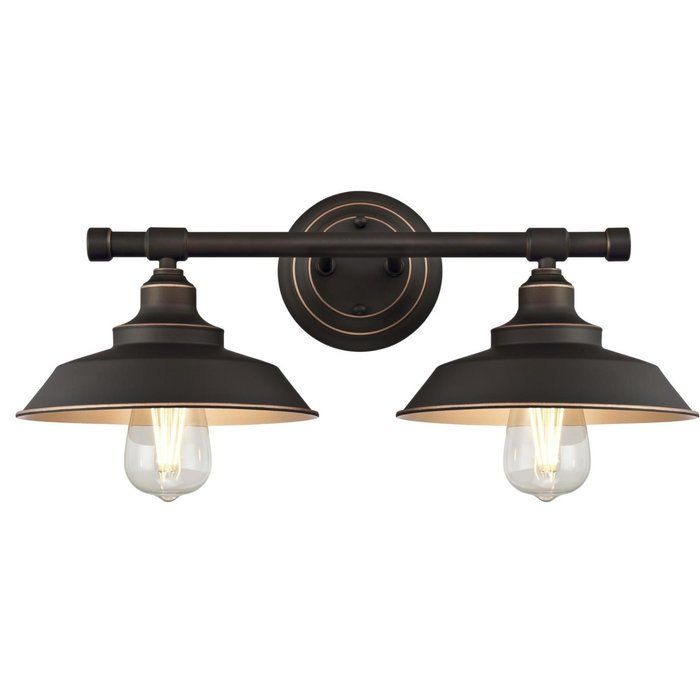 Alayna 2 Light Dimmable Oil Rubbed Bronze Vanity Light Wall