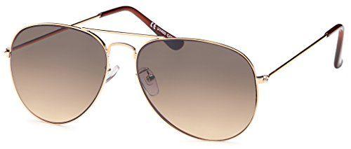 Pilotenbrille Police Sonnenbrille Herren Sunglasses Sonne Brille B505, Rahmenfarbe:Gold;Linsenfarbe:Braun Verlaufend