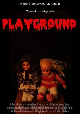 """Poster of our 8th short horror movie, """"Playground"""", based on a real story, produced by Emily Roufanis&Georgia Chioni"""