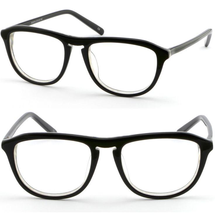 Full Rim Women's Acetate Plastic Frame Keyhole Glasses RX Sunglasses Shiny Black #Unbranded