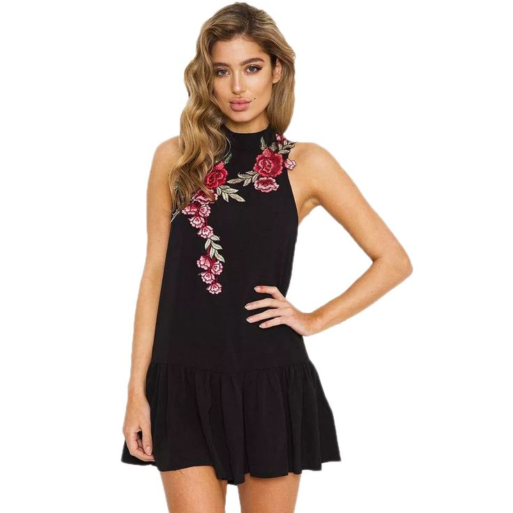 Embroidered Floral Printed Mini Office Dress Women Sleeveless Turtleneck  Tank Dress 2017 Backless Hollow Out Slim