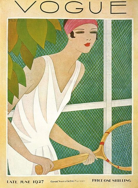 Vogue UK Cover - June 1927 - Art Deco fashion illustration.