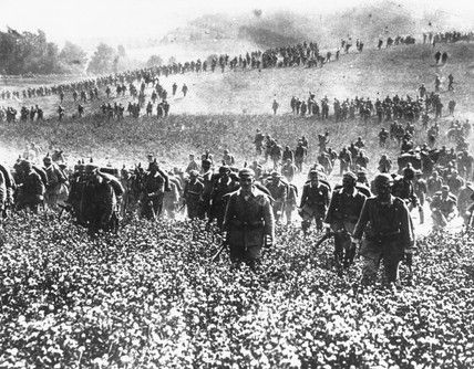 German infantry, invasion of Belgium, August 1914..German infantry, invasion of Belgium, August 1914.  © NMeM / Daily Herald Archive / Science & Society Picture Library Description German infantry moving to take a higher position during the invasion of Belgium in August 1914. The photograph was republished in May 1940 as the Nazis invaded Belgium, France and Holland. The 'Bliztkrieg' (lightning war) operation used in 1940 caused the surrender of Belgium, Holland and France...feb16