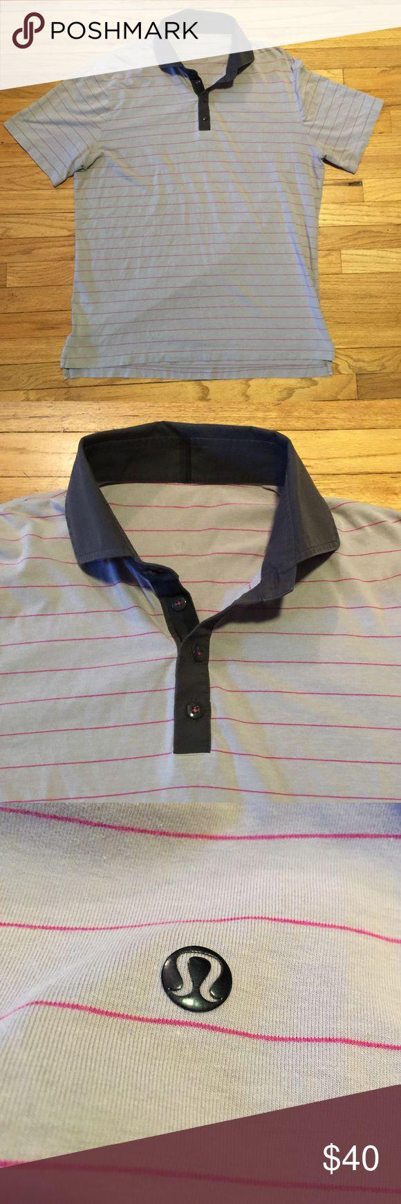 Lululemon grey striped polo shirt - XL Lululemon grey striped polo shirt - XL. Armpit to armpit - 24 inches. Length - 29 inches. Great shape lululemon athletica Shirts Polos