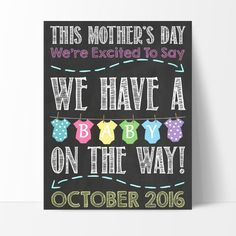 Mother's Day Pregnancy Announcement, Mother's Day Pregnancy Reveal, First Baby Announcement, New Mother, Pregnancy Chalkboard, Baby Reveal by PrintsInspiredByMyah on Etsy