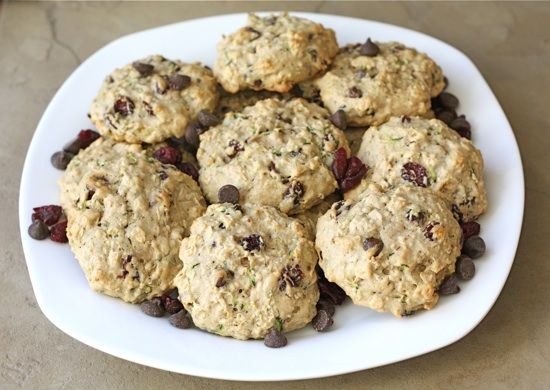Zucchini Cookies with Chocolate Chips and Dried Cranberries on twopeasandtheirpod.com Love these cookies! #cookies