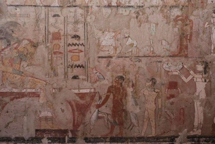 The 4400 year old burial chamber includes well preserved wall paintings including