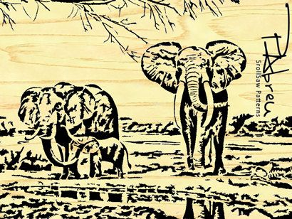 African Elephant Family Scroll Saw Pattern By