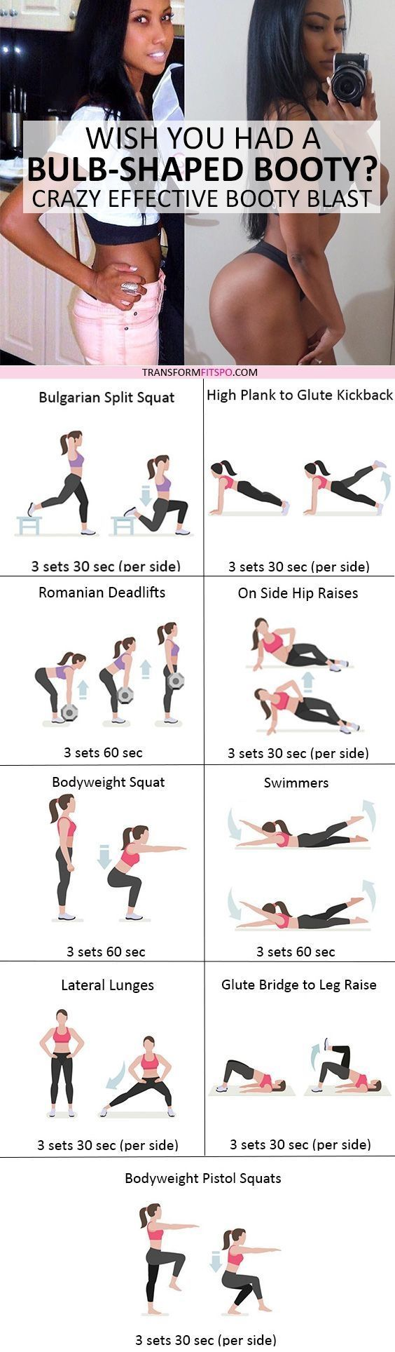 #womensworkout #workout #femalefitness Repin and share if this workout gave you a big bulb shaped booty! Click the pin for the full workout. by tracy sam