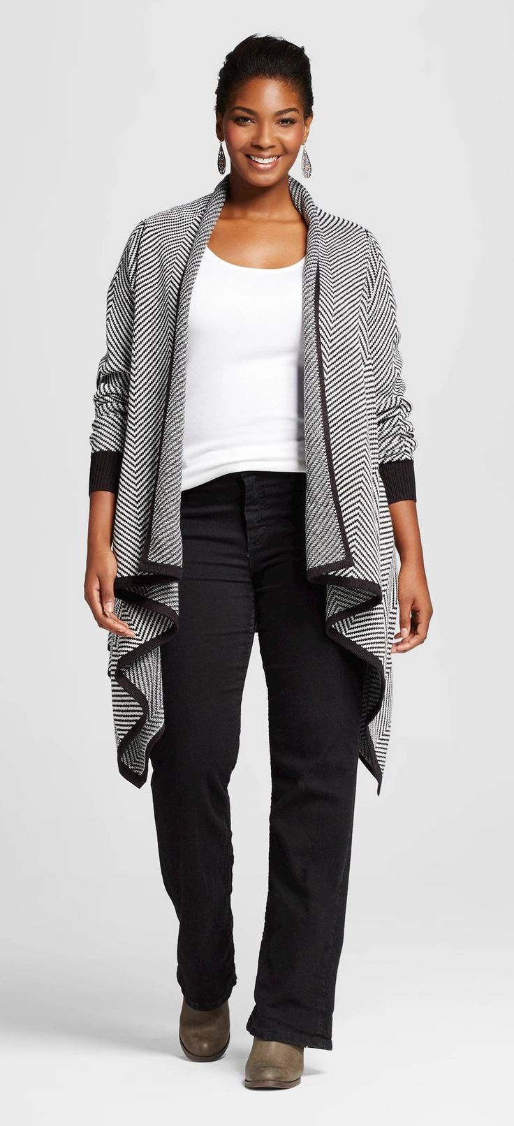 Plus Size Patterned Open Layering Cardigan