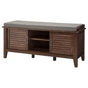 Storage Bench with Slatted Doors Wood - Threshold™ : Target