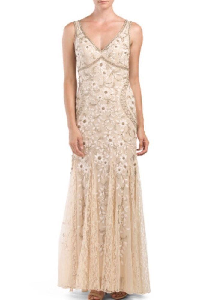 SUE WONG Beaded Blush Embroidered Godet Bridal/Formal Gown Sz 4 $663 NWT N1118 #Sheath