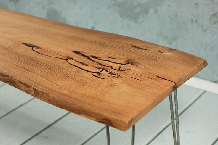 Sumida Coffee Table - Industrial coffee table with some beautiful live edge design and dark epoxy filling.