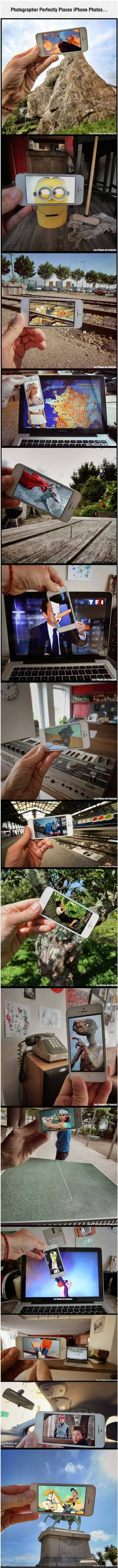 Photographer perfectly places iPhone photos.