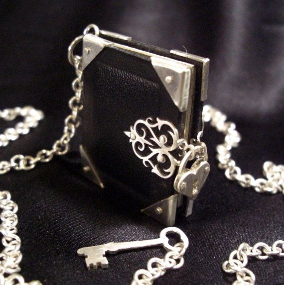 Leather and Silver Locket Necklace with Heart Padlock and Key - Book of Secrets on Etsy, $209.00