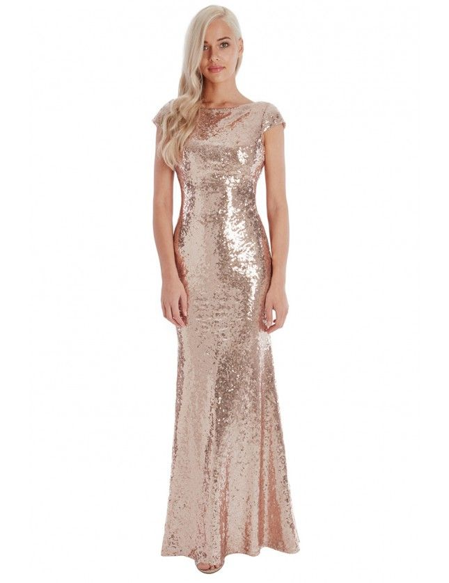 Open Back Sequin Maxi Dress - Champagne - Front - DR592