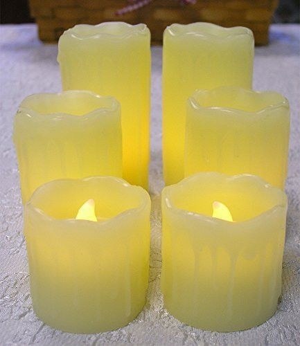 "Flameless Flickering Candles LED Electric Battery Operated Pillar Candles (4""h, 3""h, 2""h) (Each Candle Is 2"" Diam)"