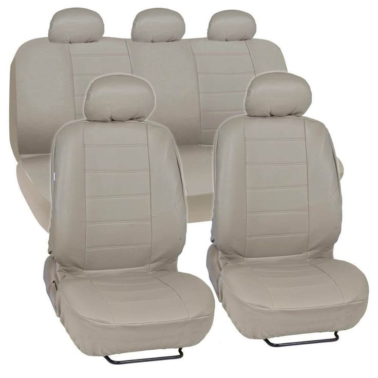 Beige Synthetic Leather Car Seat Covers Complete Set - Premium Leatherette