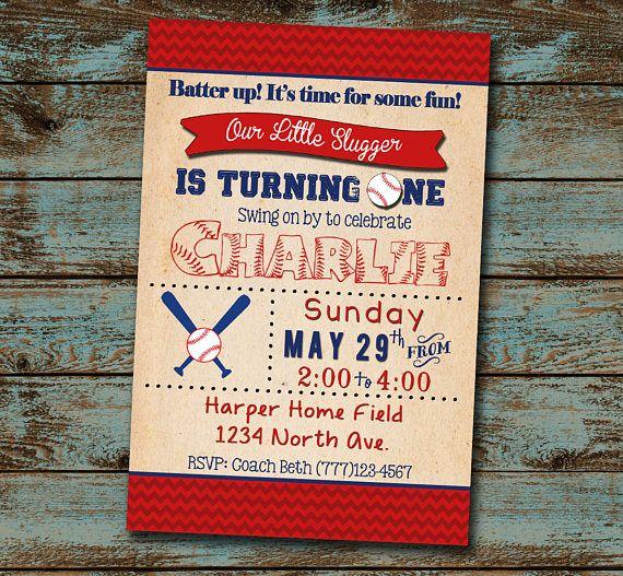 Baseball Birthday Invitation, Little Slugger Turning One, Baseball Birthday Party, First Birthday, Baseball Invitation, Digital File DIY