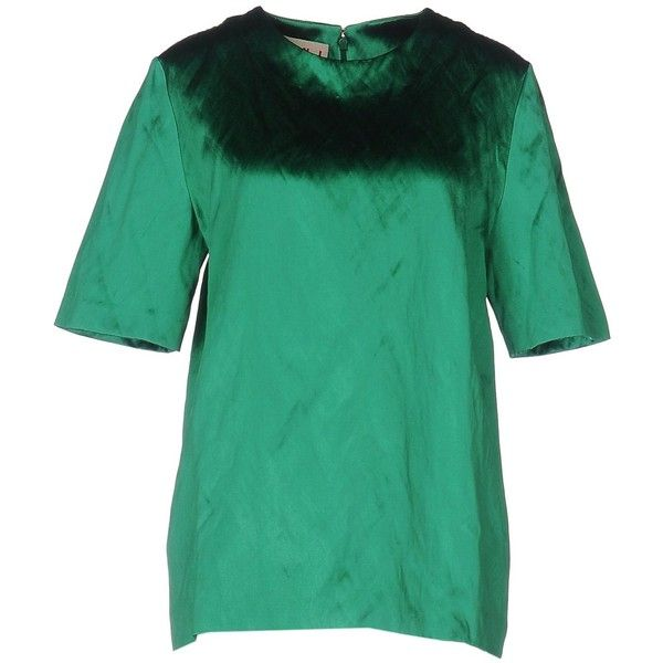 Marni Blouse ($260) ❤ liked on Polyvore featuring tops, blouses, green, round collar blouse, marni top, metallic blouse, short sleeve tops and metallic top