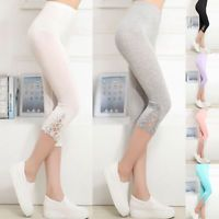 2017 Lady Summer Lace Skinny Stretch Capri Pants Cropped Trousers Leggings Pants