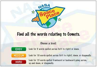 nasa word finder game about comets
