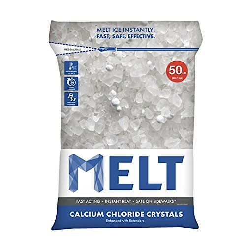 Snow Joe MELT50CC Melt Calcium Chloride Crystals Ice Melter Resealable Bag, 50-Pound