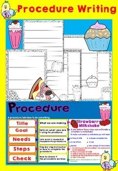 Procedure Writing Procedure writing has never been easier! This product has everything you will need to teach your students how to set out their procedural writing.  Following the step-by-step layout of the Procedure poster it will make this topic so easy to teach.