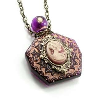 Gothic Lolita Jewelry - Vintage Perfume Bottle Necklace with Cameo by Ghostlove - Photo